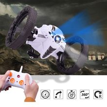 RC Car Bounce Car PEG RH803 2.4G Remote Control Toys Jumping Car with Flexible Wheels Rotation LED Night Light RC Robot Car gift(China)