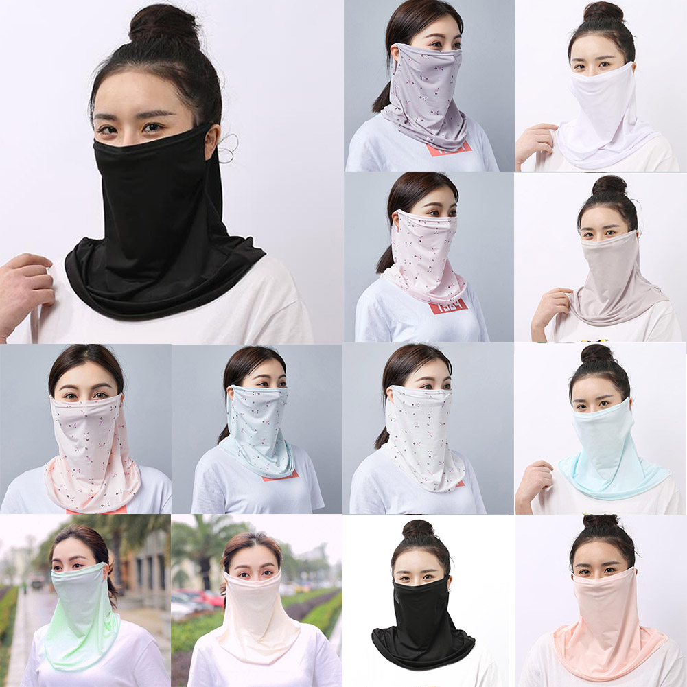 Lightweight Sun Protection Outdoor Riding UV Protective Face Mask Scarf Ice Silk