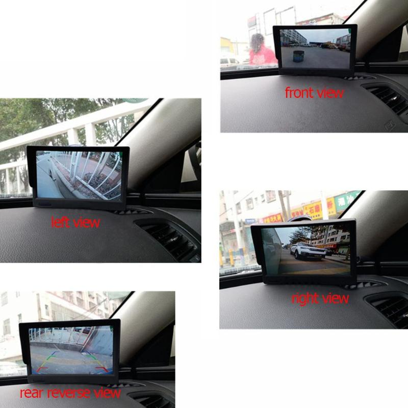 5Inch 360Degree Bird View System 4 Camera Panoramic Car DVR Recording Parking Assisting Monitor Front+Rear+Left+Right View Cam