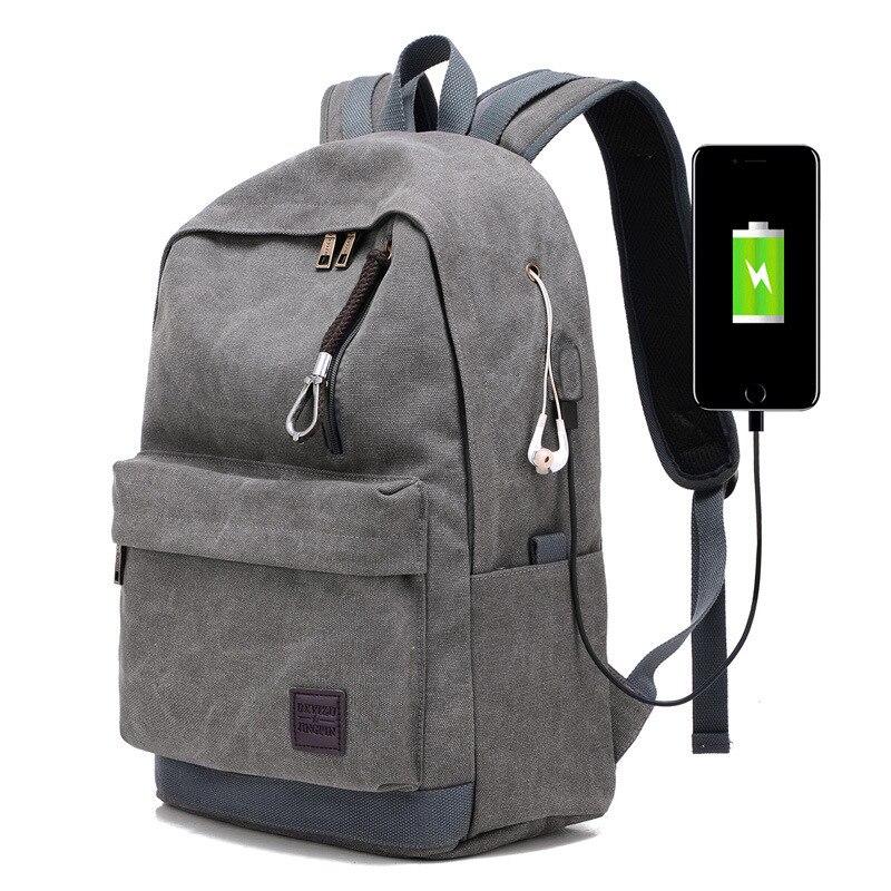 c3376f0b6d0 Bolso de hombro de nuevo estilo, mochila recargable de lona, mochila USB,  versión coreana de la escuela secundaria temprana pendientes