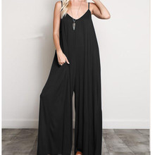 Women Spaghetti Strap Sleeveless Wide Leg Jumpsuits Summer Sexy V Neck Beach Jumpsuits Plus Size Casual Long Rompers