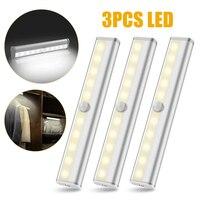 3pcs Motion Sensor Night Light 10 LED Battery Power Closet Lights Body Response Wall Lamp