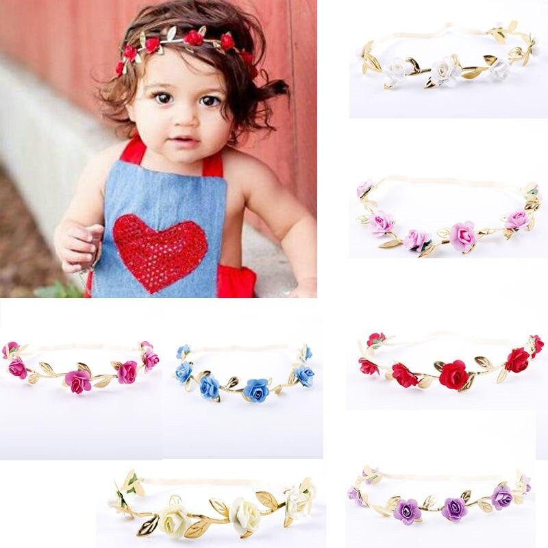 Crown Headband Baby Girl Kids Garlands Gold Leaves Hair Band Rose Flower Wreath