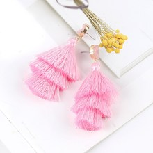 цена на Bohemian Women Neon Tiered Tassel Earrings 3 Layered Fringe Earrings Ombre Stacked Tassels Long Dangle Earrings