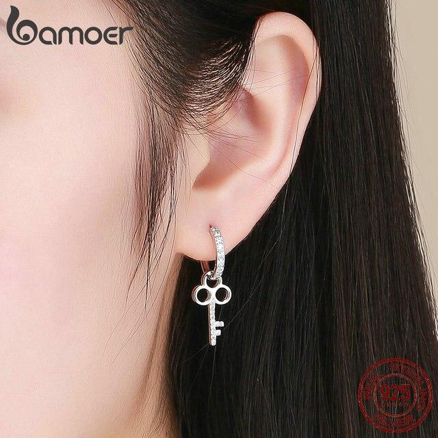BAMOER 925 Sterling Silver Love Heart Shape Key Lock Drop Earrings 4