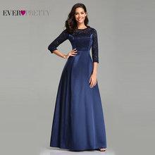 Халат De Soiree Ever Pretty EZ07720 темно-синие кружевные атласные вечерние платья трапециевидной формы с коротким рукавом Длинные элегантные свадебные платья для гостей
