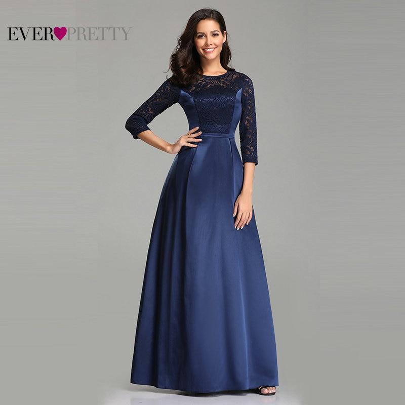 Robe De Soiree Ever Pretty EZ07720 Navy Blue A-line Lace Half Sleeve Satin Evening Dresses Long Elegant Wedding Guest Gowns