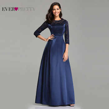 Robe De Soiree Ever Pretty EZ07720 Navy Blue A-line Lace Half Sleeve Satin Evening Dresses Long Elegant Wedding Guest Gowns - DISCOUNT ITEM  35% OFF All Category