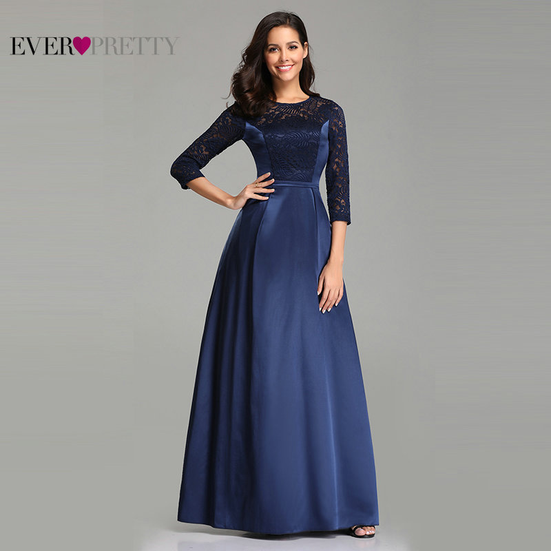 Robe De Soiree Ever Pretty EZ07720 Navy Blue A-line Lace Half Sleeve Satin   Evening     Dresses   Long Elegant Wedding Guest Gowns