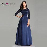 Robe De Soiree Ever Pretty EZ07720 Navy Blue A line Lace Half Sleeve Satin Evening Dresses Long Elegant Wedding Guest Gowns