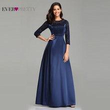 Robe De soirée Ever Pretty EZ07720 bleu marine a ligne dentelle demi manches Satin robes De soirée longues élégantes robes De mariée
