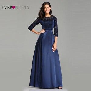 Image 1 - גלימת דה Soiree אי פעם די EZ07720 חיל הים כחול אונליין תחרה חצי שרוול סאטן ערב שמלות ארוך אלגנטי חתונת אורחים שמלות