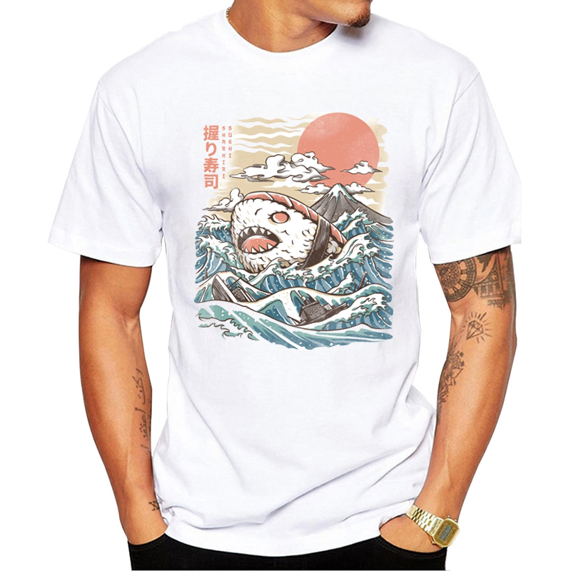 Japan Anime Sushi Shark Funny Tshirt Men 2019 New White Short Sleeve Casual Homme Cool Jaws T Shirt Aesthetic ClothesT Shirt