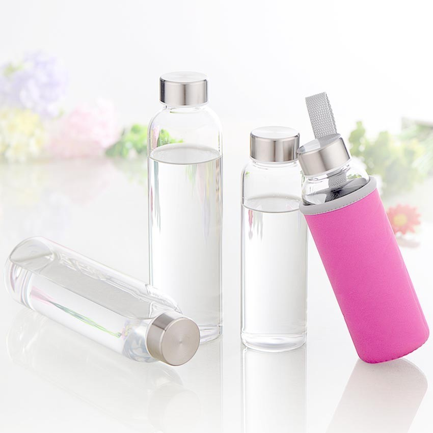 Hot glass bottle 280ml / 360ml / 420ml sports style portable bicycle travel bottle with cup set youth student water bottle glass bottle