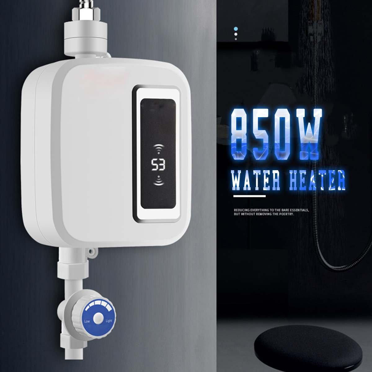 Hot Water Heater 850W Mini Electric Tankless Instant Kitchen Faucet Tap Heating Stainless Steel Constant Temperature