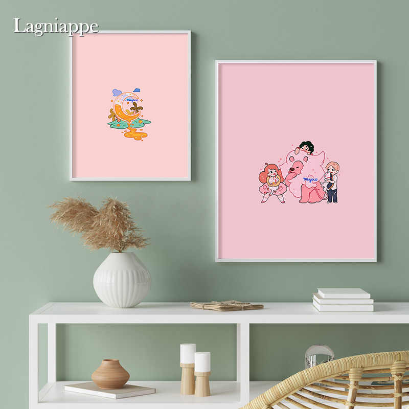 Pastel Aesthetics Cute Pink Blue Cartoon Home Kids Baby Living Room Bedroom Decor Print Poster Picture Painting Wall Art Canvas Aliexpress