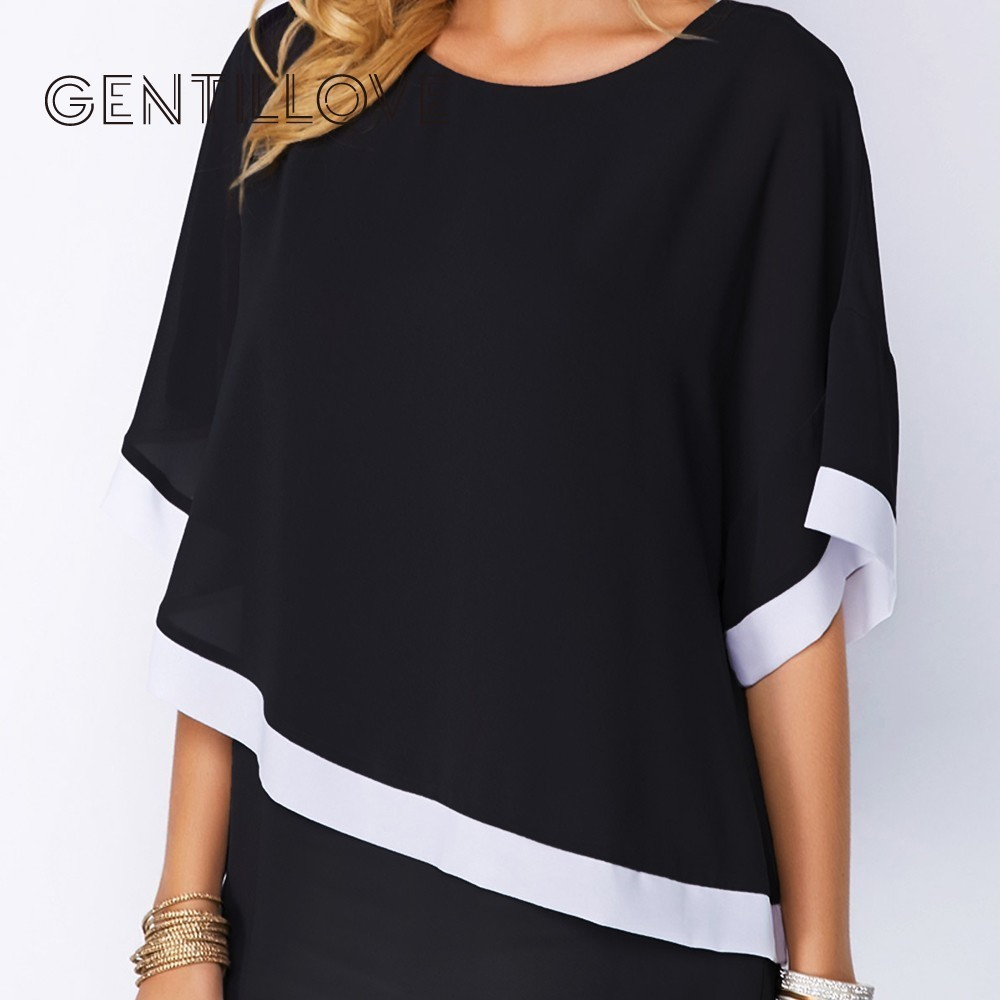 Plus Size Chiffon Blouse Causal Patchwork Irregular Shirts Sexy Batwing O Neck Summer Women Blouse And Tops Oversized 5XL