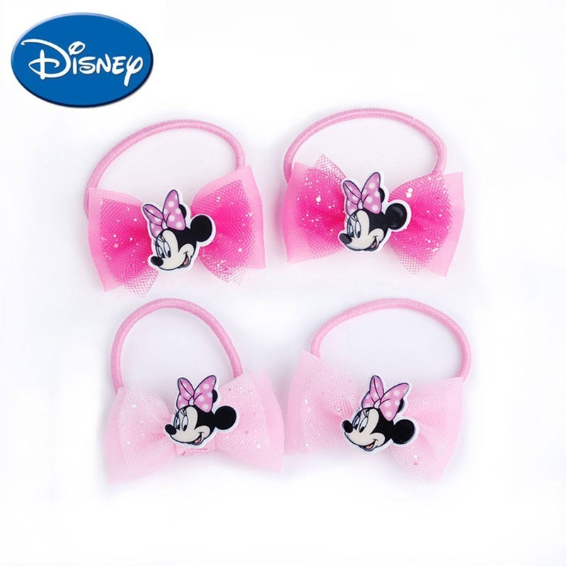 Disney Hair Bands 2pcs/lot Cartoon Minnie   Headwear   Baby Children Accessories Hair Ring Cute Hair Rope Lovely Gift For Girls