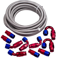 Top Quality AN8 AN 8 Red Swivel Fitting Steel Nylon Braided Oil Fuel Line Hose 20FT Kit