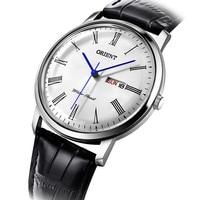 Оригинальные кварцевые часы Ориент модные мужские часы Эксклюзивные Мужские часы бизнес Дата кожаные Наручные часы Hodinky Relogio Masculino