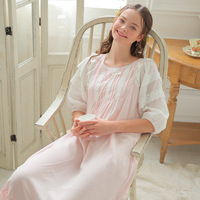 Spring Embroidered Lace Nightdress Palace Nightgowns Lovely Princess Long Section Sleepshirts Casual Comfort Sweet Nightdress