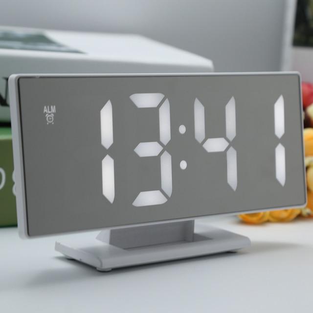 LED Digital Alarm Clock Mirror Surface With Large LED Temperature Calendars Display USB Port Digital Alarm Clocks For Bedroom