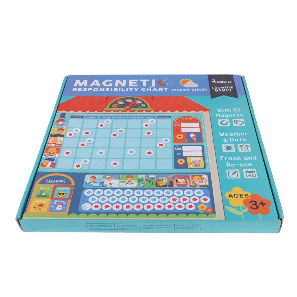 Conseil de responsabilité de récompense magnétique en bois avec des anniversaires de saison météo cadeau jouets éducatifs pour enfants enfants - 2