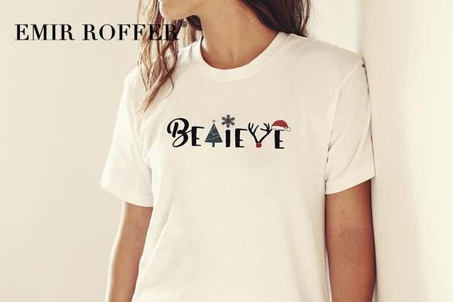 Christmas Shirt Sayings.Emir Roffer Funny Believe Christmas Shirt Graphic Tees White Women T Shirt Cotton Tshirt Sayings Harajuku Clothes Cute Tops
