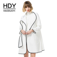 HDY Haoduoyi Wool Blends Coats Women Solid White Long Sleeve Jacket Woolen Cardigans Casual 2017 Autumn Winter Tops OL work wear