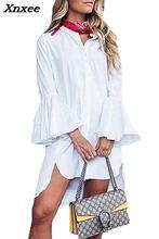 Women shirt dress white flare sleeve summer fashion O-neck elegant  blouse casual clothing Xnxee