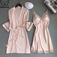 Queenral 2PCS Women Pajamas Silk Satin Robe Nightgown Set Sleepwear Home Suit Night Sleep Plus Size M XXL Intimate Lingerie