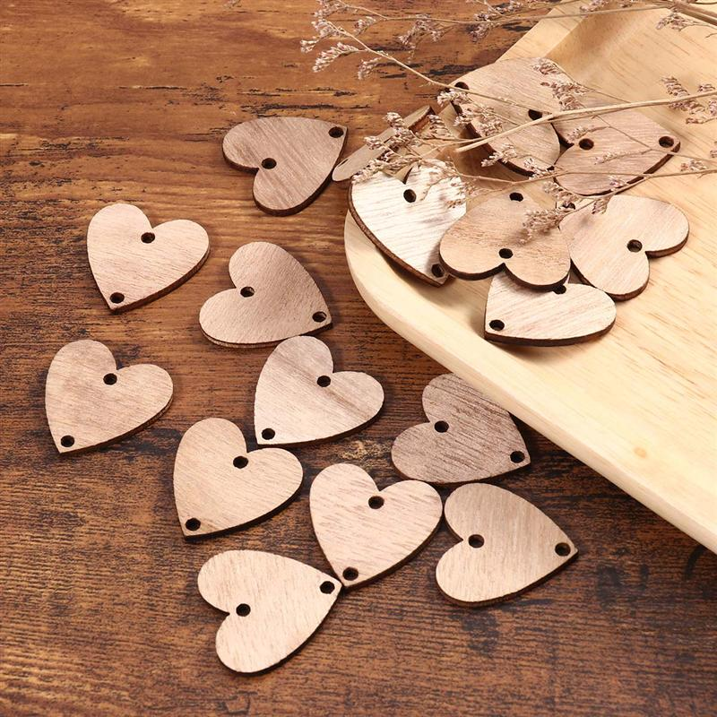 Wood Crafts 50pcs Heart Wooden Slices With 50 Iron Loops Set For Birthday Reminder Hanging Wooden Plaque Board DIY Calendar