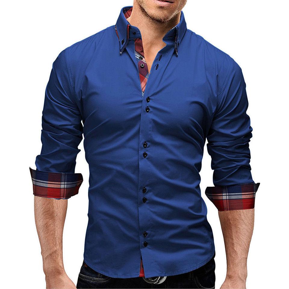 Men Classic Long Sleeve Shirt Formal Business Dress Casual Smart Slim Luxury Top
