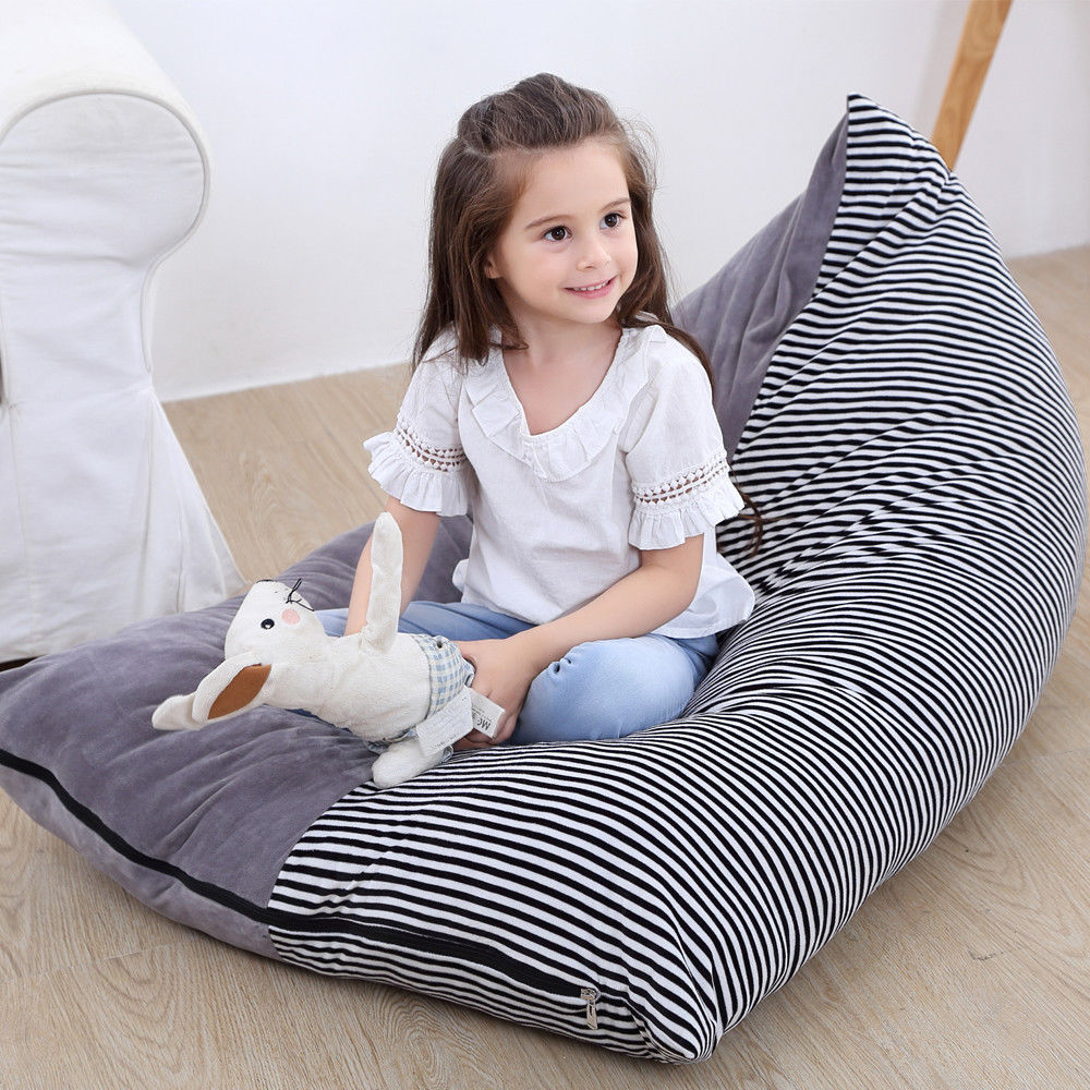 Peachy Us 6 15 45 Off 2018 New Style Fashion Stripe Stuffed Animal Storage Bean Bag Chair Portable Kids Clothes Toy Storage Handbags In Top Handle Bags Theyellowbook Wood Chair Design Ideas Theyellowbookinfo