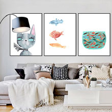 Nordic Cat Cartoon Modular Fish Pictures Wall Art Poster Print on Canvas Painting for Living Room Kid's Room Home Decor No Frame(Hong Kong,China)