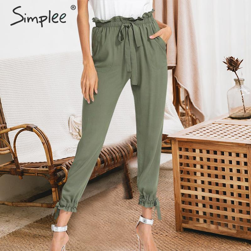 Simplee Elastic High Waist Women Harem Pants Elegant Lace Up Pockets Female Trousers Casual Solid Ladies Pencil Pants 2019