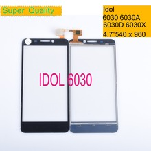 10Pcs/lot For Alcatel One Touch idol 6030 6030d 6030x 6030a ot6030 OT-6030 Touch Screen Touch Panel Sensor Digitizer Front Glass