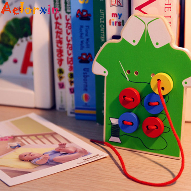 2019 Wooden Toys Threading Seam Button Board Beaded Blocks Child Gift Exercise Children Girls Hand Eye Coordination Educational