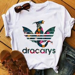 Daenerys smok camiseta Dracarys zabawna koszulka męska lato nowy biały dorywczo ma unisex tshirt fajne Harajuku street wear t koszula 1