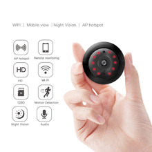 720P Mini Ip Wifi Camera Wireless Hd 180° Hidden Home Security Cam Night Surveillance Cameras camsoy c6 mini camera for baby home security wifi ip control by mobile phone with night vision hd 720p dvr cam new gadgets 2017