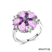 925 sterling silver jewelry treasure ring Exquisite five-petal flower opal rings Stainless steel rose golden jade amethystB1453