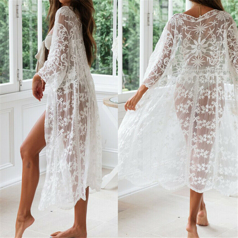 Fashion Embroidery Dress Summer Women Lace Long Maxi Dress Beach Ladies Dresses White Floral Lace Evening Party Dresses Sundress
