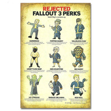 Rejected Fallout 3 Perks Vintage Tin Sign Art Painting Bar Pub Cafe Garage Hotel House Wall Decor Metal Poster Size:20*30cm