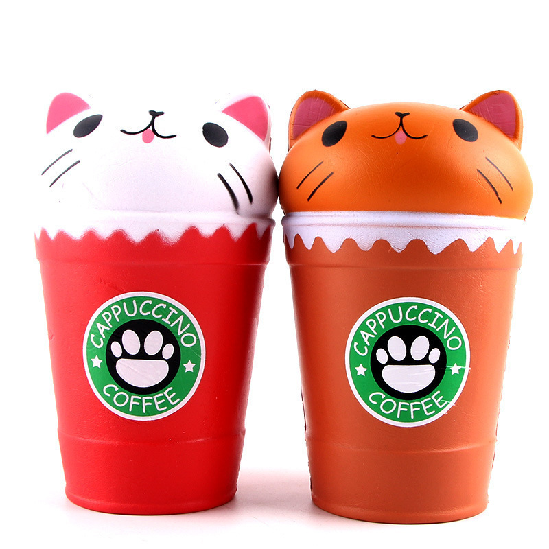 Anti-Stress 14cm Cut Cappuccino Squishies Coffee Cup Cat Scented Slow Rising Squeeze Collection Squishes Gift Toy