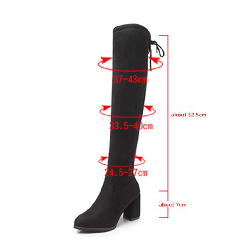 2019 Printemps Automne Femmes Bottes Mince nouveauté Femme Over-the-genou Botte Noir Mode Flock Femme talons hauts chaussures Botas