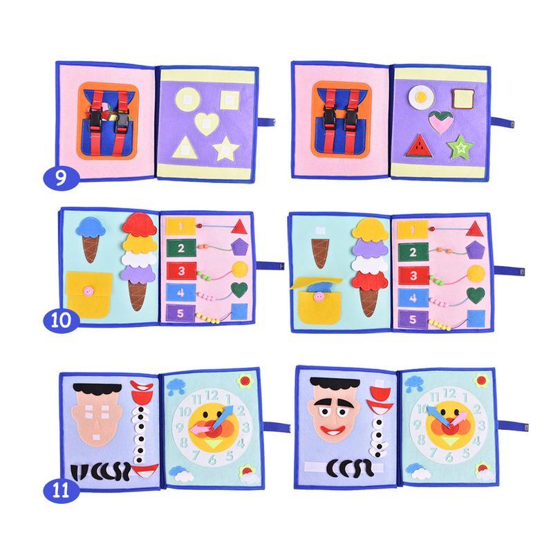 Livre en tissu doux pour enfants 3D livre à pansements Non tissé Puzzle d'intelligence manuel livre de jouets pour enfants - 4
