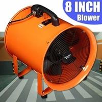 8'' Industrial Ventilator Fan Blower Extractor Portable Garage High Rotation Fan Axial Ducting Blower Workshop Exhaust Fan