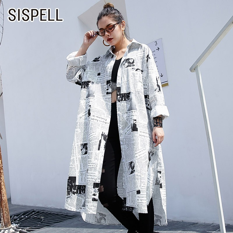 SISPELL Print Women Tops And   Blouses     Shirts   Lapel Long Sleeve Loose Oversize Women's   Shirt   Fashion Casual Clothes New