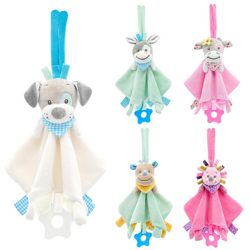 Baby Comforting Security Blanket Toys Animal Stuffed Soft Baby Plush Toy Bed Hanging Babies Rattles Mobiles