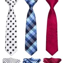 e91b11f23e08 Necktie Hankerchief Set For Child Pre tied Boys Woven Kids Tie Plaid  Striped Dot Navy Blue